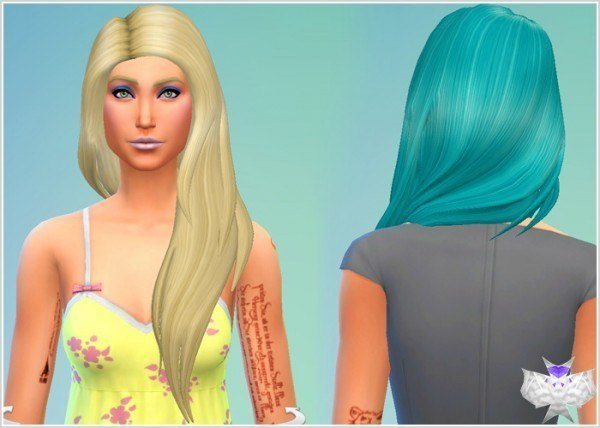 David Sims: Dance Teal Hairstyle for Sims 4