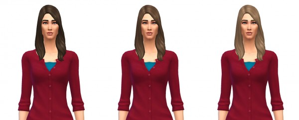 Busted Pixels: Long Wavy Subtle Part hairstyle for Sims 4