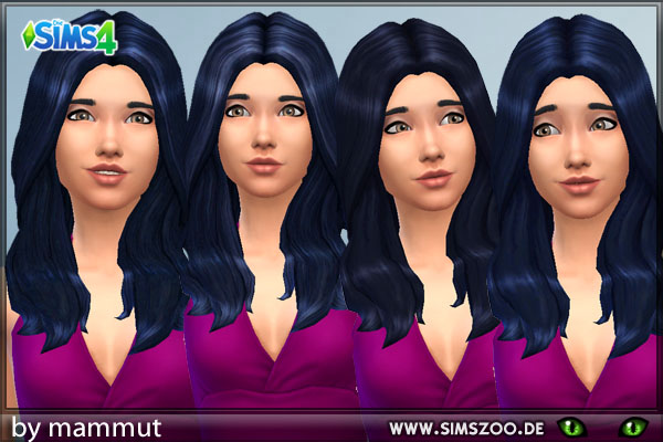 Blackys Sims 4 Zoo: Long Wavy Black Blue hairstyle recolors for Sims 4