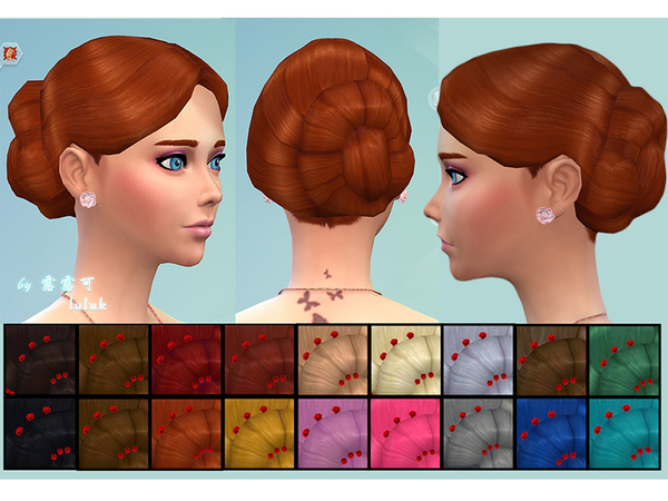 The Sims Resource: Hair for party by Luluk for Sims 4