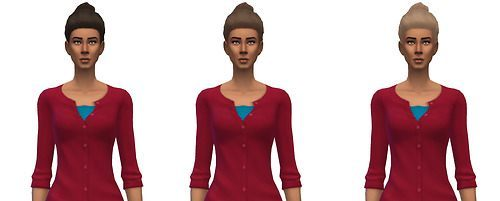 Busted Pixels: Granny bun hairstyle recolor for Sims 4