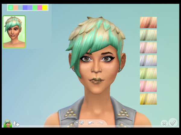 The Sims Resource: Platinum Pastel Shorties hairstyle by Drea1219 for Sims 4