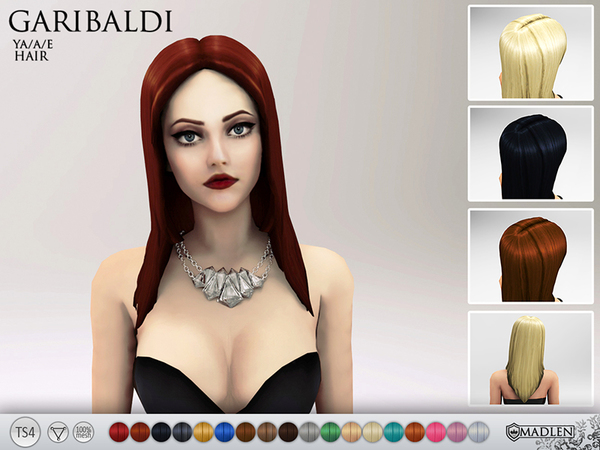 The Sims Resource: Madlen Garibaldi Hairstyle by MJ95 for Sims 4