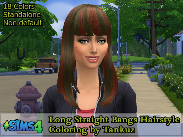 The Sims Resource: Long Straight Bangs Hairstyle Coloring by Tankuz for Sims 4