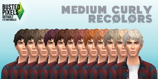 Busted Pixels: Medium curly hairstyle for Sims 4