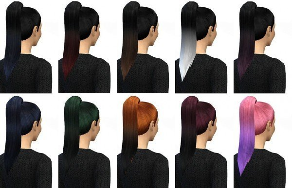 Miss Paraply: Ombre hairstyle 25 colors for Sims 4