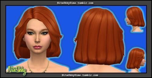 Niteskky Sims: Medium bob hairstyle   new mesh for Sims 4