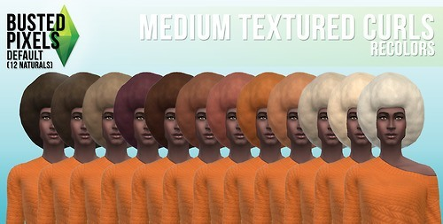 Busted Pixels: Medium textured curls hairstyle for Sims 4