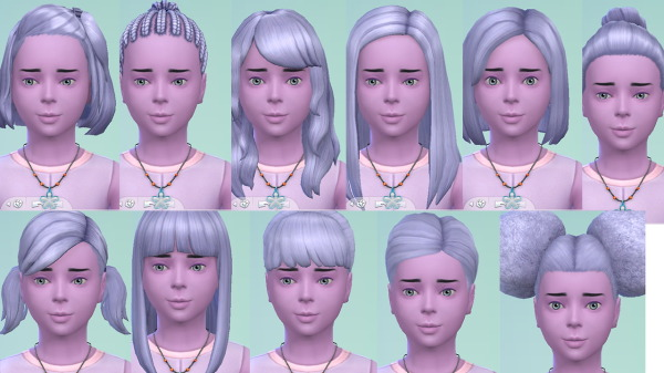 Stars Sugary Pixels: Angel Blue Hairstyle for girls for Sims 4