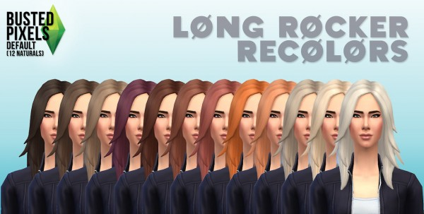 Busted Pixels: Long rocker hairstyle 12 colors for Sims 4