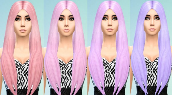 Ohmyglobsims: Pastel Hair Recolors   David Sims Long Classic hairstyle for Sims 4