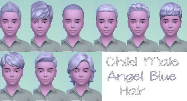 Stars Sugary Pixels: Angel Blue Hairstyle for boys for Sims 4