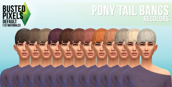 Busted Pixels: Ponytail bangs hairstyle for Sims 4