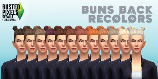 Busted Pixels: Buns back hairstyle for Sims 4