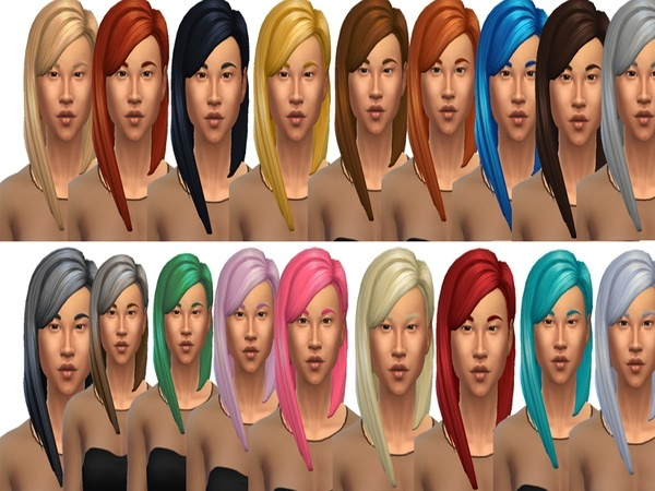 The Sims Resource: Long Straight Parted Hairstyle by drea1219 for Sims 4