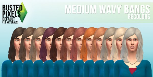 Busted Pixels: Medium wavy bangs hairstyle for Sims 4