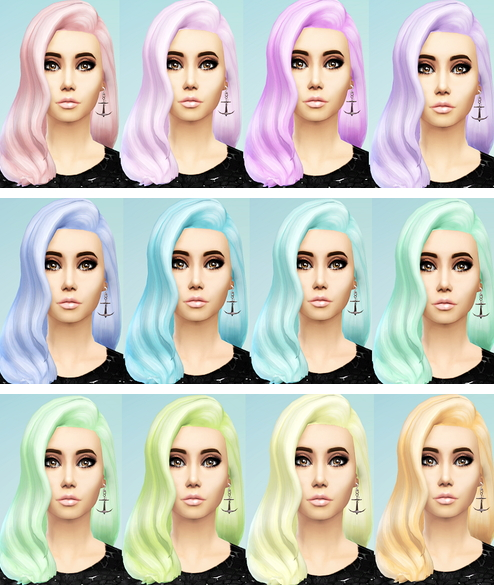 Ohmyglobsims: Pastel Hair Recolors   long wavy classic hairstyle for Sims 4