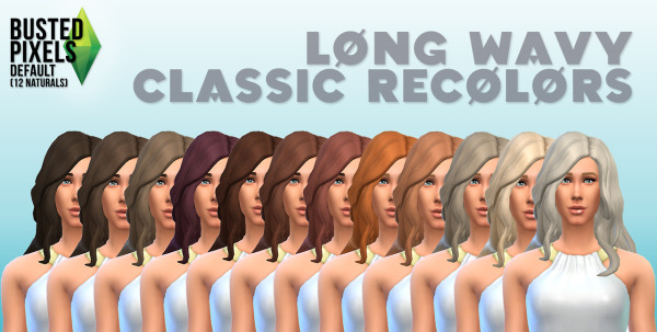 Busted Pixels: Long wavy classic 12 colors for Sims 4