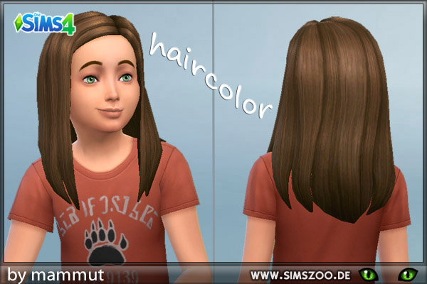 Blackys Sims 4 Zoo: Long Straight hairstyle Brown for Sims 4