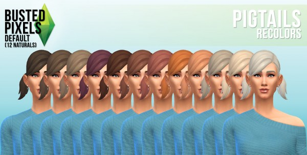 Busted Pixels: Pigtails hairstyles recolors for Sims 4