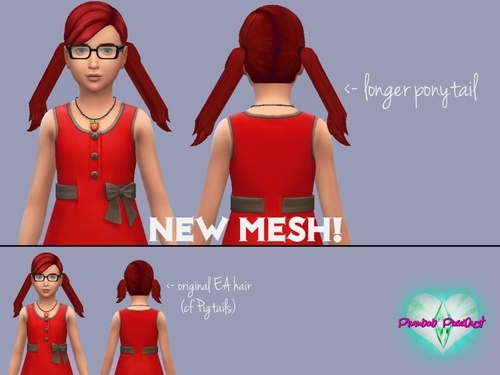 Plumbob Pixiedust: Longer Pigtails hairstyle   New Mesh for Sims 4