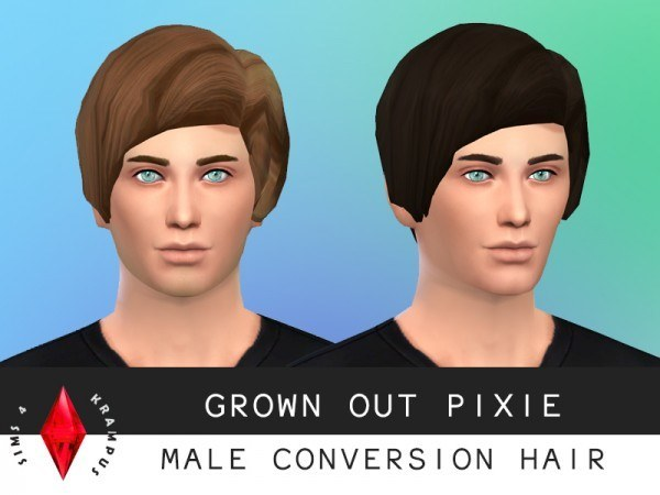 Sims 4 Krampus: Grown out pixie hairstyle converted for Sims 4