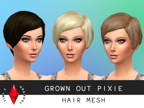 Sims 4 Krampus: Grown out pixie hair mesh for Sims 4