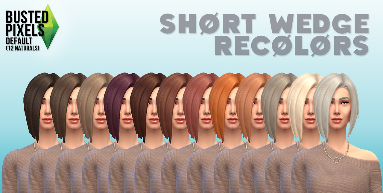 Sims 4 Hairs Busted Pixels Short Wedge Hairstyle Retextured