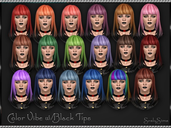 The Sims Resource: Color Vibe W/ Black Tips v1 hairstyle by SrslySims for Sims 4