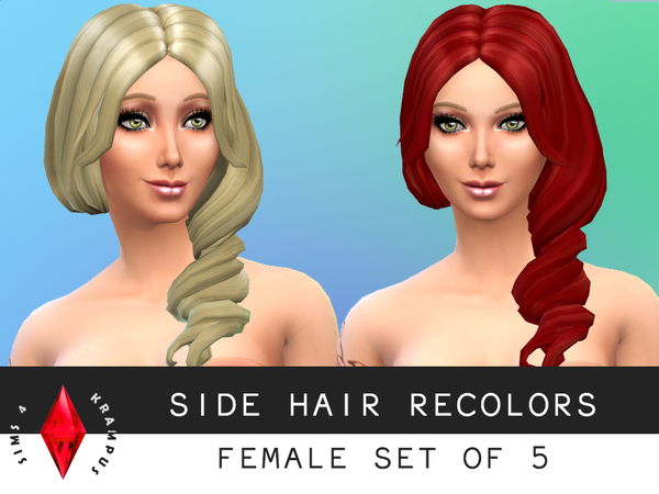 The Sims Resource: Side Hair Recolors Set of 5 by SIms4Krampus for Sims 4