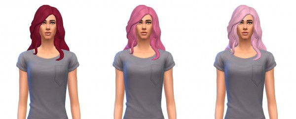 Busted Pixels: Long Wavy Over Shoulder unnatural colors for Sims 4