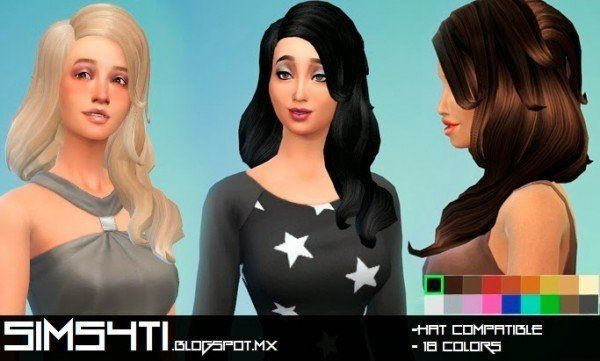 Sims4Ti: Long hairstyle   new mesh for Sims 4