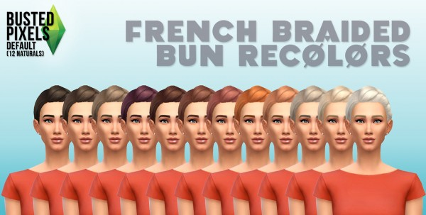 Busted Pixels: French braided bun 12 colors for Sims 4