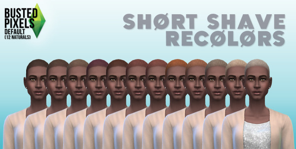 Busted Pixels: Short shave 12 colors for Sims 4