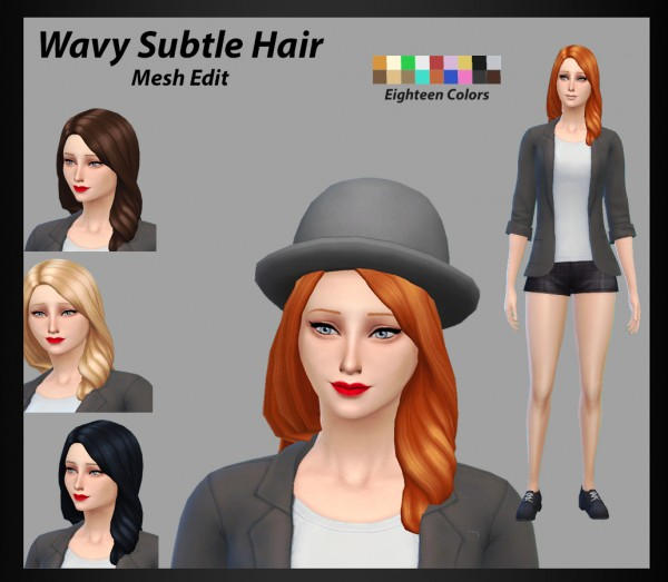 Mod The Sims: Wavy Subtle Hairstyle  Mesh Edit by adil338 for Sims 4