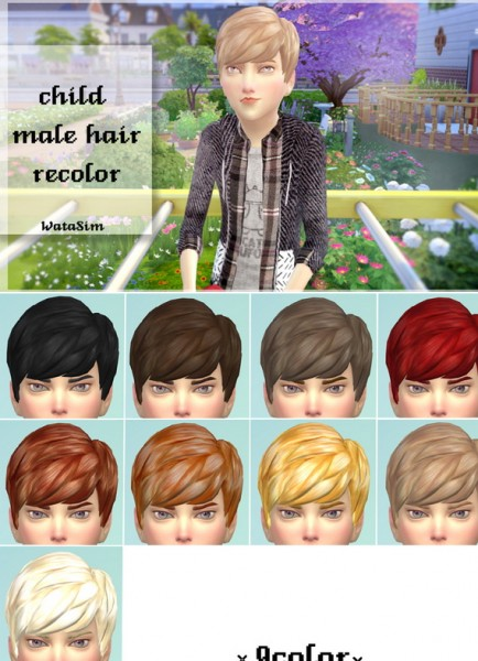 Watasim: Child male hairstyle 9 colors for Sims 4