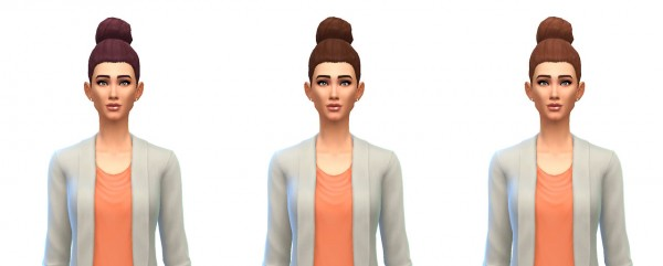 Busted Pixels: Bun large hairstyle 12 colors for Sims 4