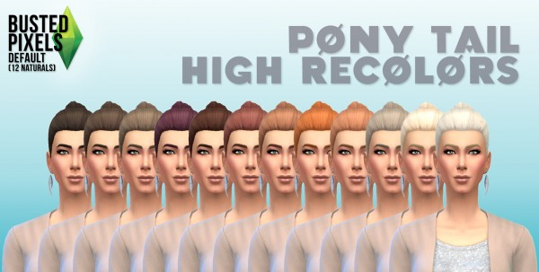 Busted Pixels: Ponytail hairstyle 12 colors for Sims 4