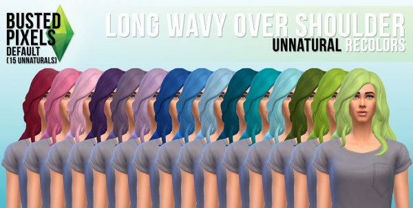 Busted Pixels: Long wavy over the sholder hairstyle for Sims 4