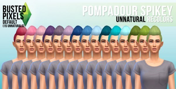 Busted Pixels: Pompadour spikey hairstyle unnatural colors for Sims 4
