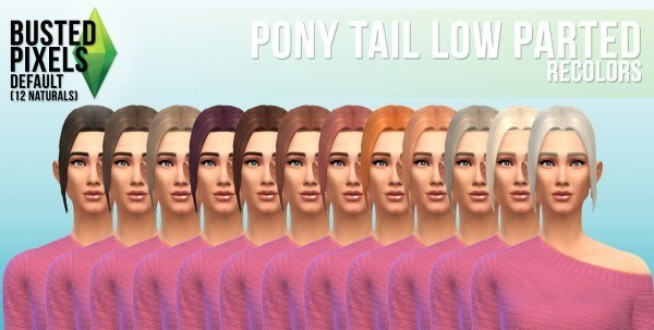 Busted Pixels: Ponytail lowparted hairstyle for Sims 4