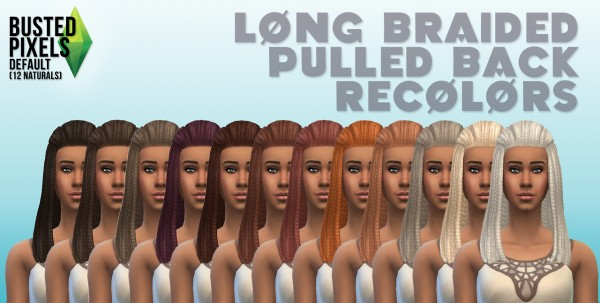 Busted Pixels: Braided pulled back 12 colors for Sims 4