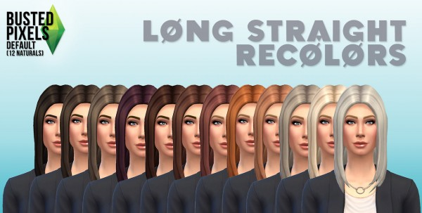 Busted Pixels: Long straight hairstyle 12 colors for Sims 4