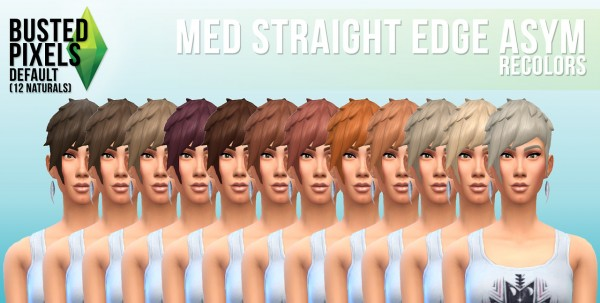 Busted Pixels: Medium straight edge asym for Sims 4