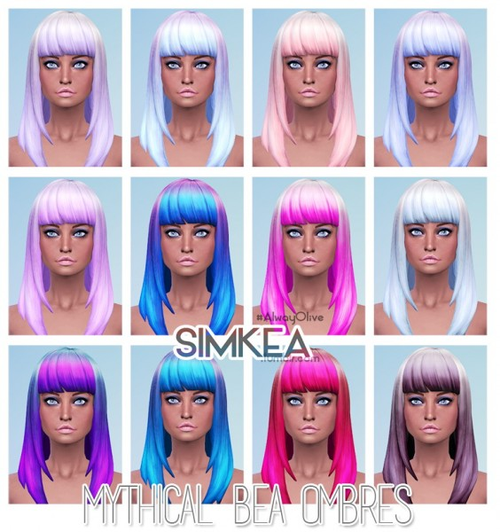 Simkea: Mythical Bea Ombres hairstyle for Sims 4