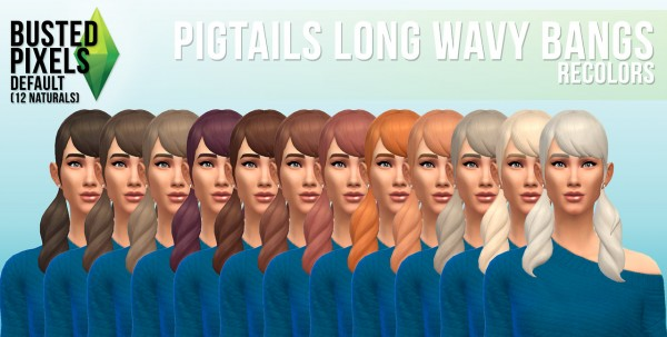 Busted Pixels: Pigtails long wavy bangs hairstyle for Sims 4