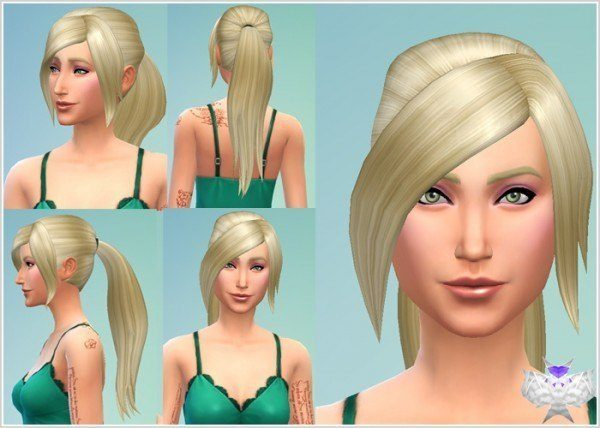 David Sims: Long Ponytail hairstyle for Sims 4