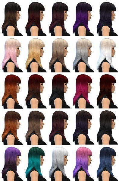 Miss Paraply: Ombre 25 colors hairstyle for Sims 4