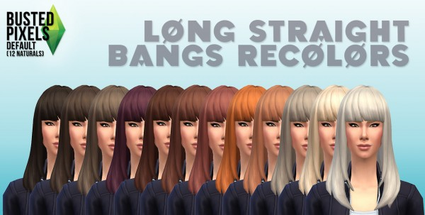 Busted Pixels: Long straight bangs hairstyle 12 colors for Sims 4
