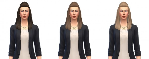 select a Website   : Long wavy poof pulled back for Sims 4